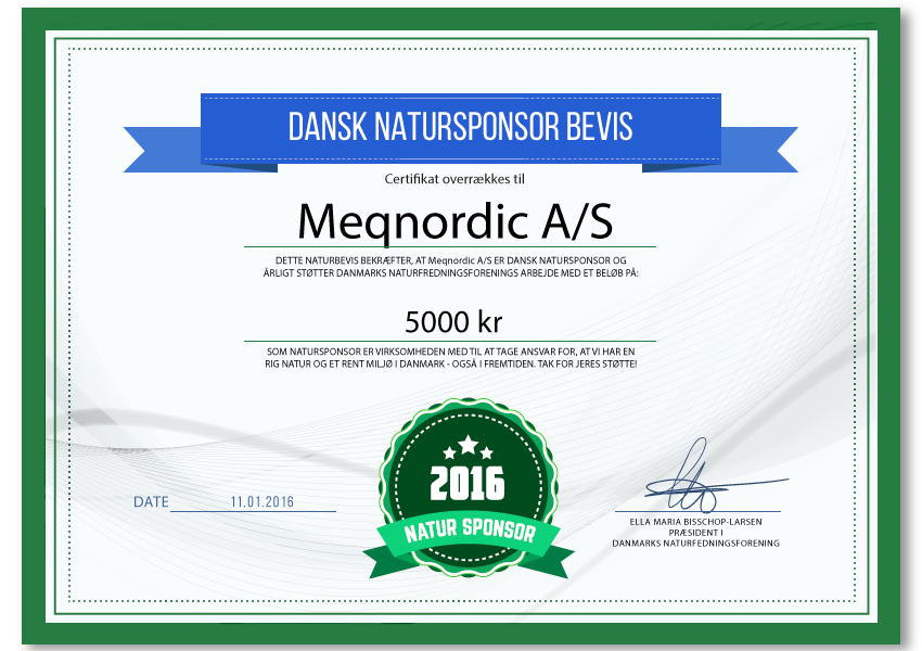 Meqnordic A/S - natursponsor 2016