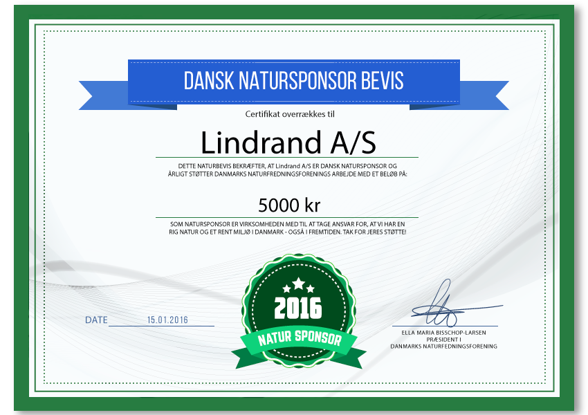 Lindrand A/S - Natursponsor 2016