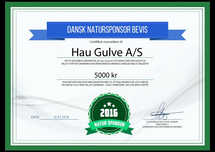 Hau Gulve A/S - Natursponsor 2016