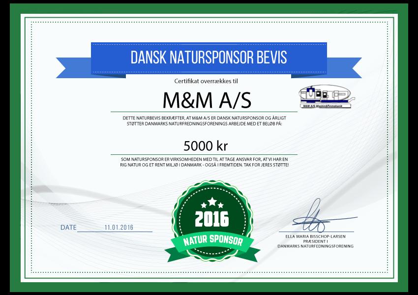 M&M A/S - Natursponsor 2016