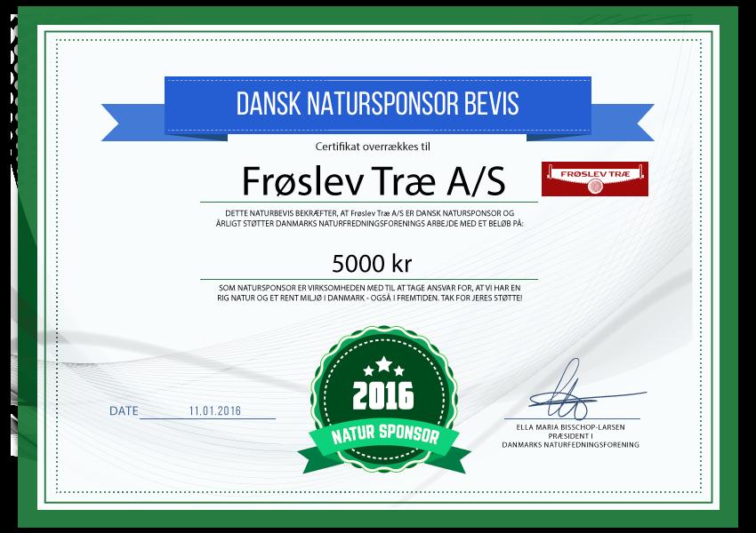 Frøslev Træ A/S - natursponsor 2016