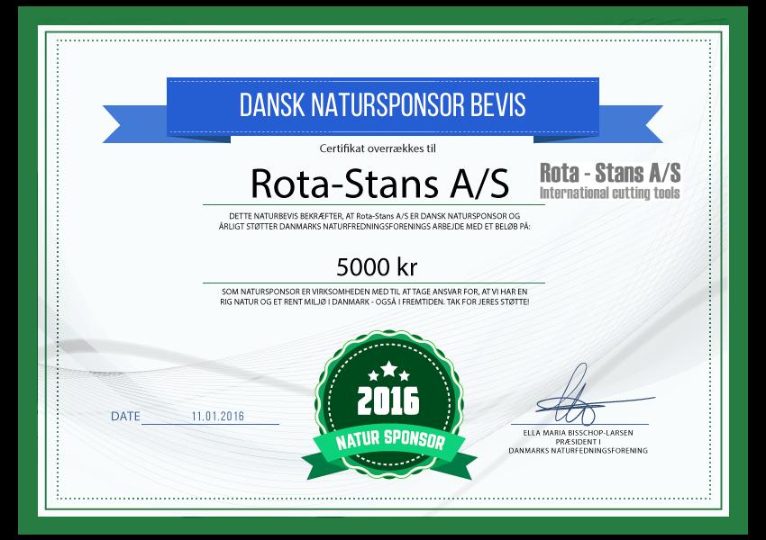 Rota-stans A/S - Natursponsor 2016